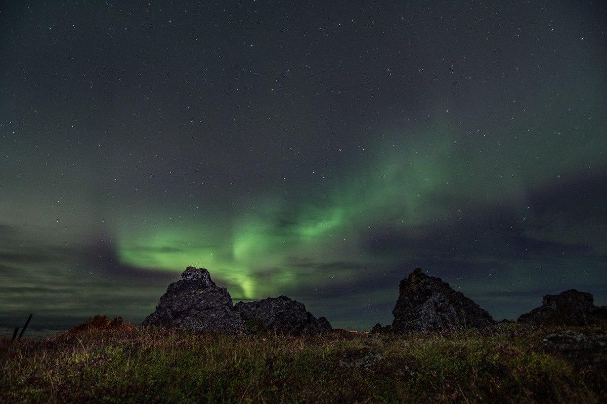 aurora, jezero Mývatn